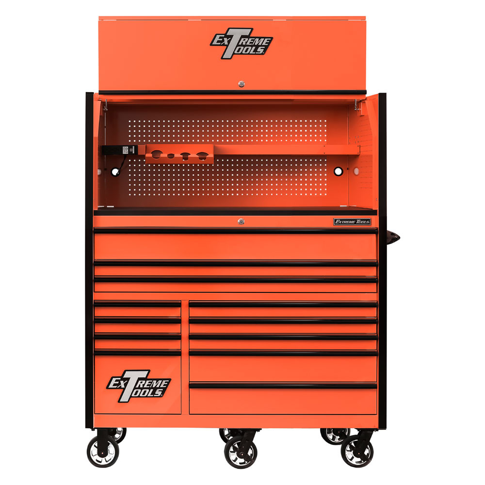 """Extreme Tools RX Series 55"""" 12-Drawer Roller with Hutch - Orange w/Black Drawer Pulls"""