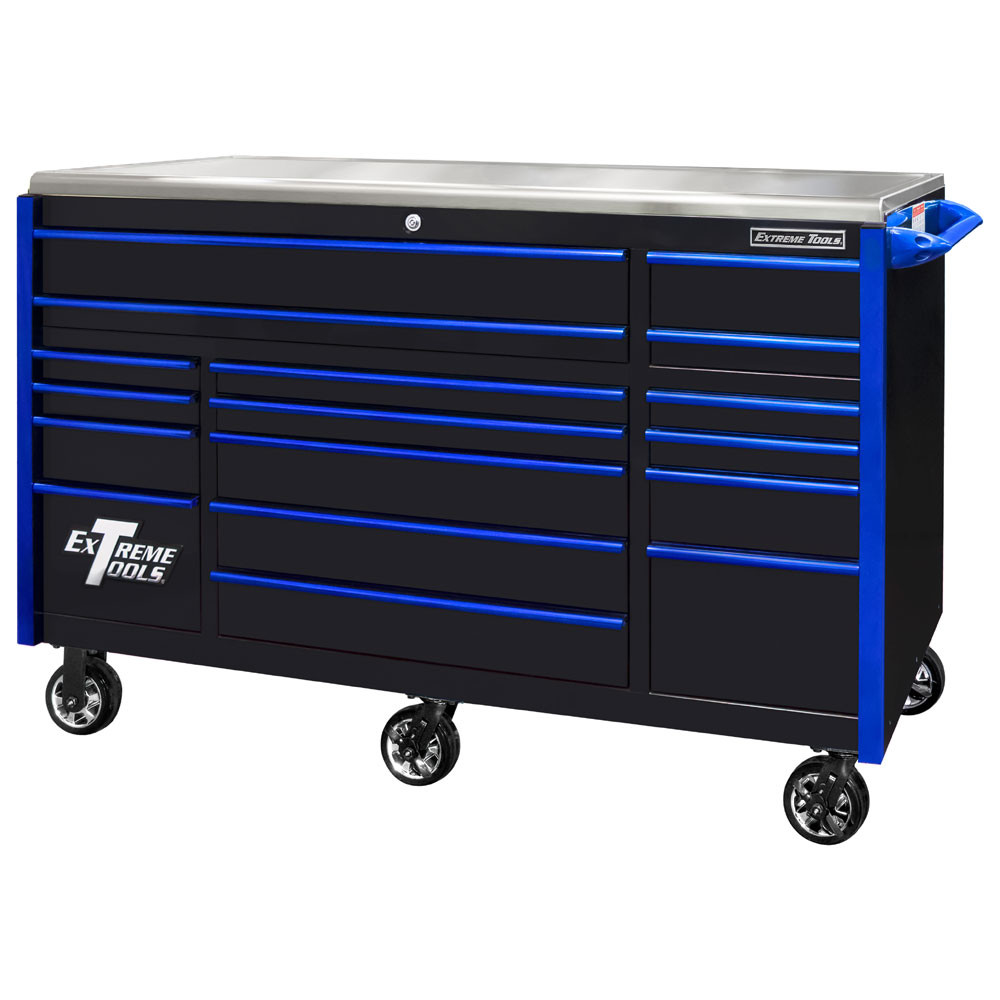 """Extreme Tools EXQ Series 72"""" 17-Drawer Professional Triple Bank Roller - Black w/Blue Drawer Pulls"""