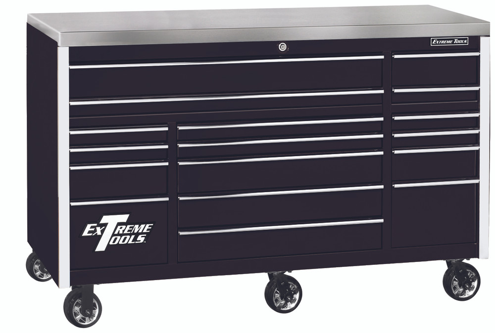 """Extreme Tools EXQ Series 72"""" 17-Drawer Professional Triple Bank Roller - Black w/Chrome Drawer Pulls"""