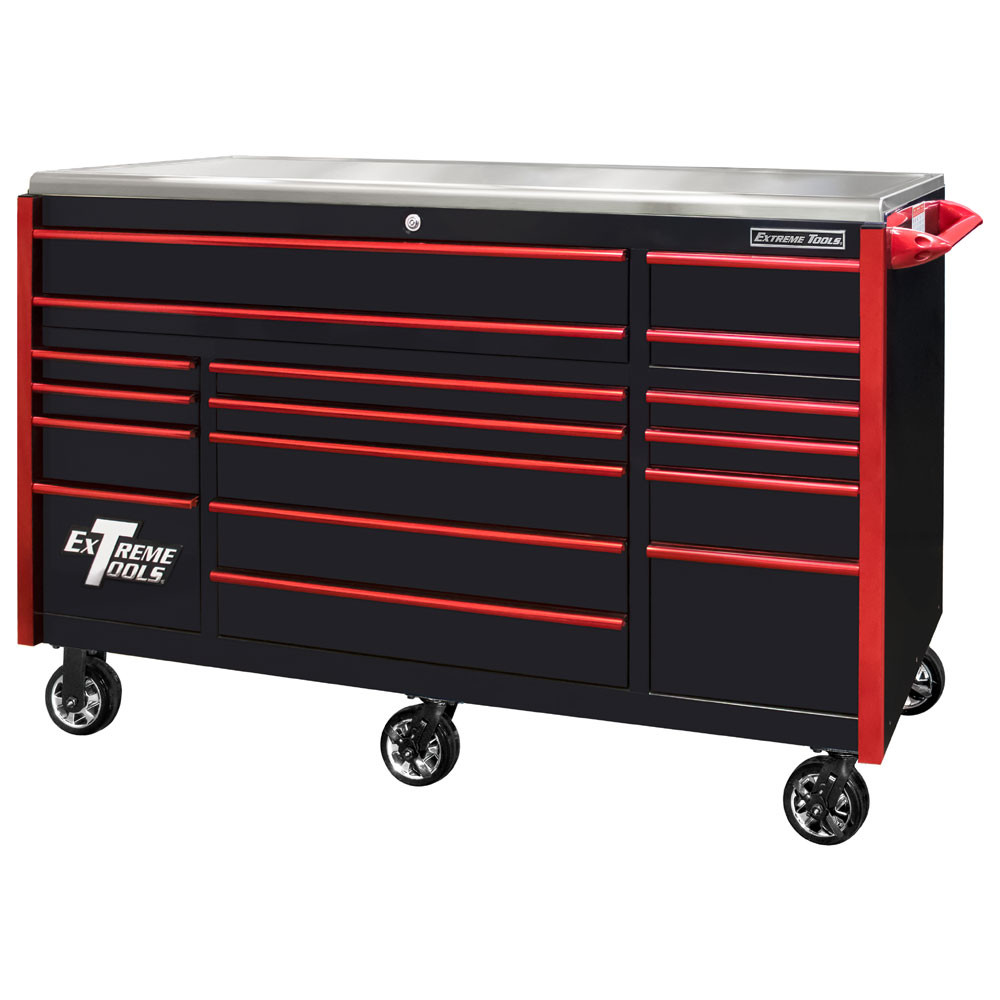 """Extreme Tools EXQ Series 72"""" 17-Drawer Professional Triple Bank Roller - Black w/Red Drawer Pulls"""