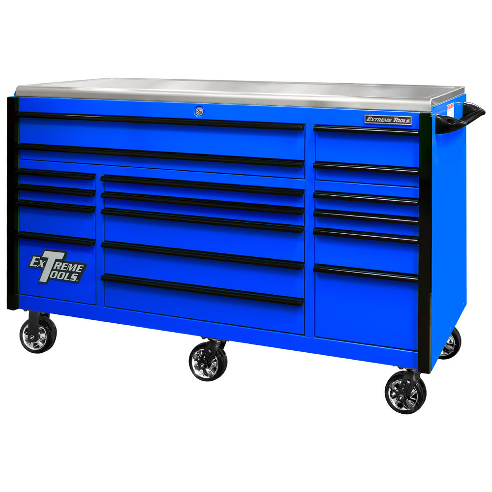 """Extreme Tools EXQ Series 72"""" 17-Drawer Professional Triple Bank Roller - Blue w/Black Drawer Pulls"""