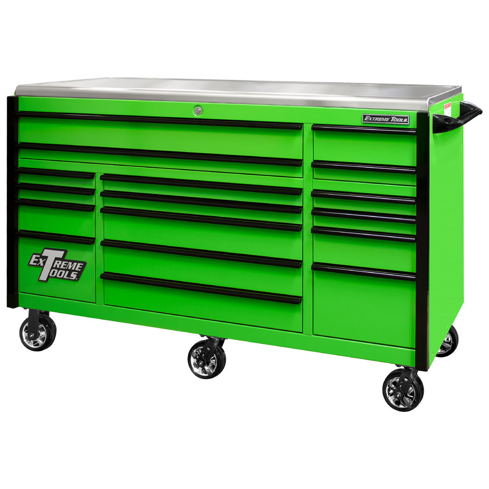 """Extreme Tools EXQ Series 72"""" 17-Drawer Professional Triple Bank Roller - Green w/Black Drawer Pulls"""