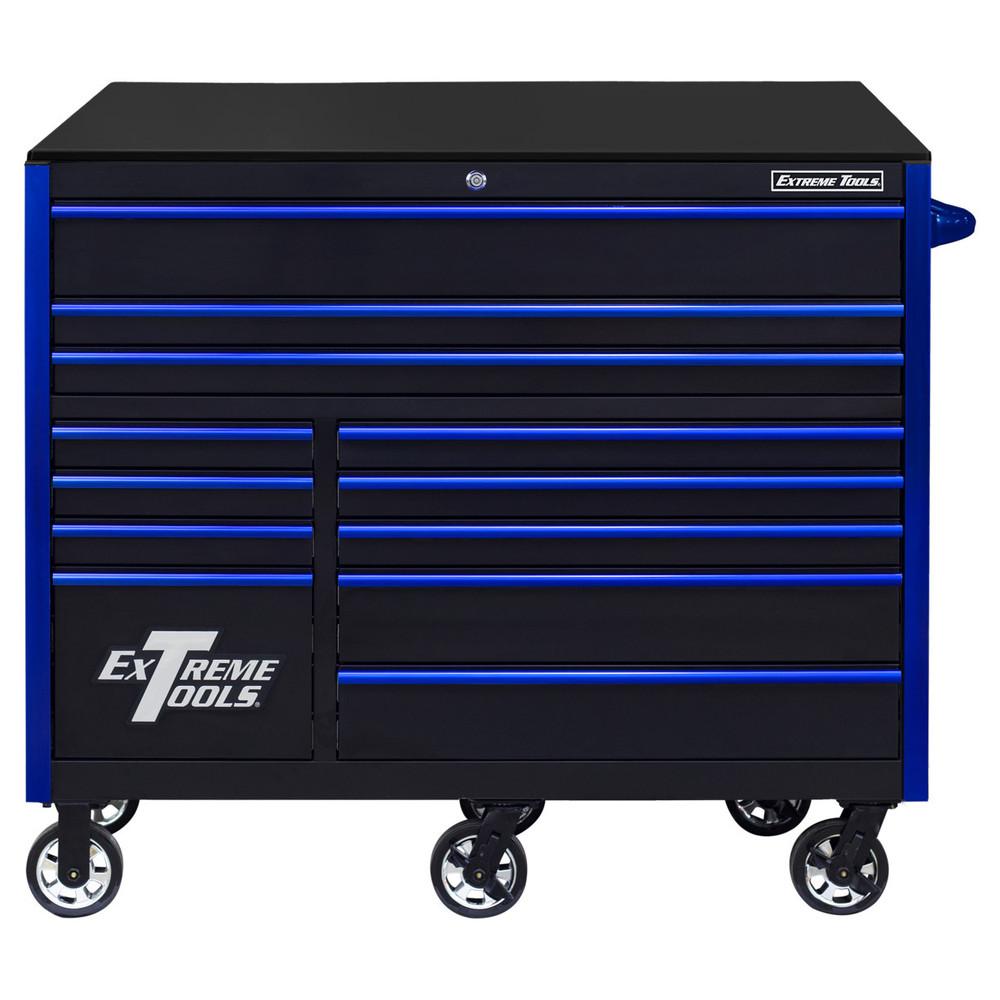 "Extreme Tools RX Series 55"" 12-Drawer Roller  - Black w/Blue Drawer Pulls"