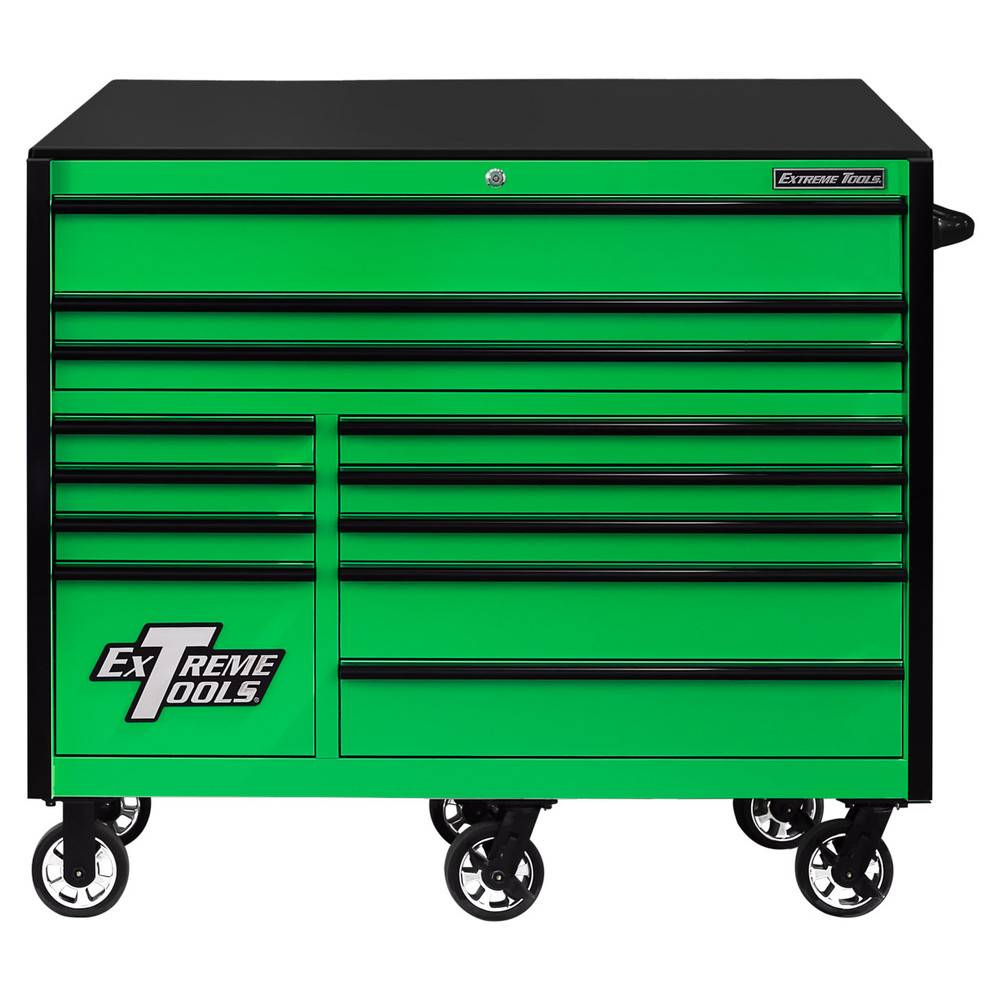 """Extreme Tools RX Series 55"""" 12-Drawer Roller  - Green w/Black Drawer Pulls"""