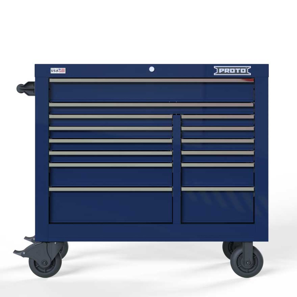 """Proto Velocity 42"""" 14-Drawer Double Bank Roller Cabinet - Blue"""