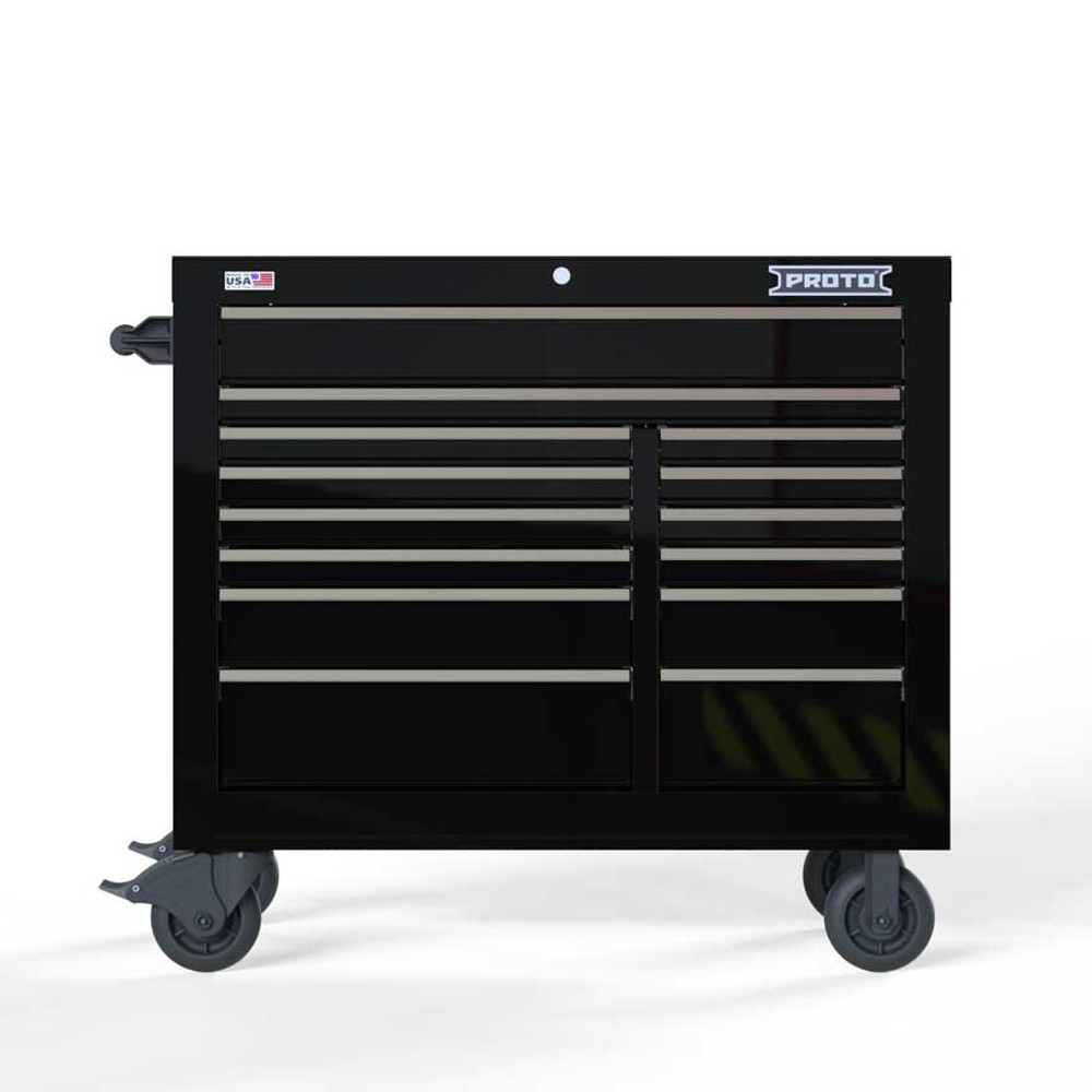 """Proto Velocity 42"""" 14-Drawer Double Bank Roller Cabinet - Black"""