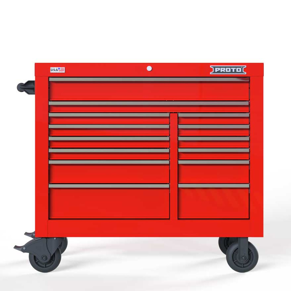 """Proto Velocity 42"""" 14-Drawer Double Bank Roller Cabinet - Red"""