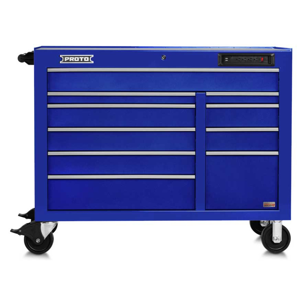 """Proto 550E 50"""" Front Facing Power Workstation w/ USB- 10 Drawer - Gloss Blue"""