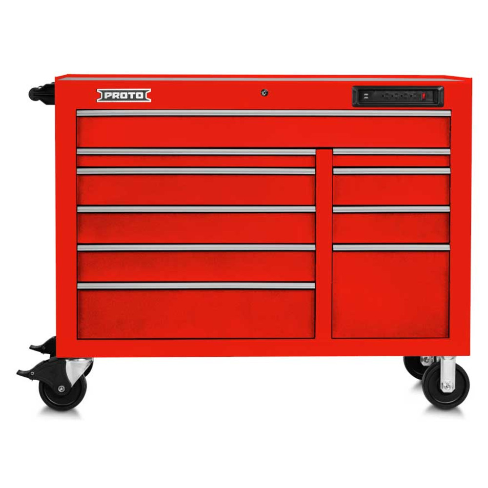 """Proto 550E 50"""" Front Facing Power Workstation w/ USB- 10 Drawer - Gloss Red"""