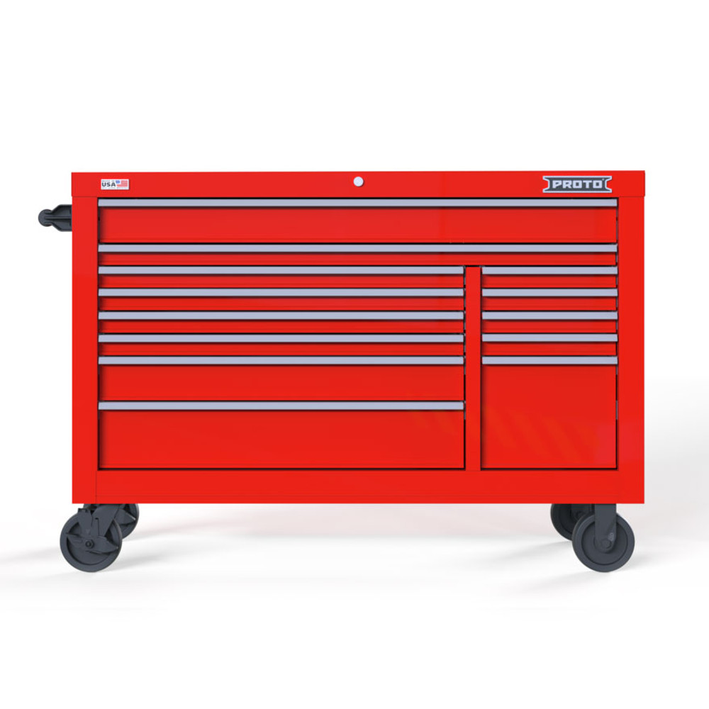 """Proto Velocity 55"""" 13-Drawer Double Bank Roller Cabinet - Red"""
