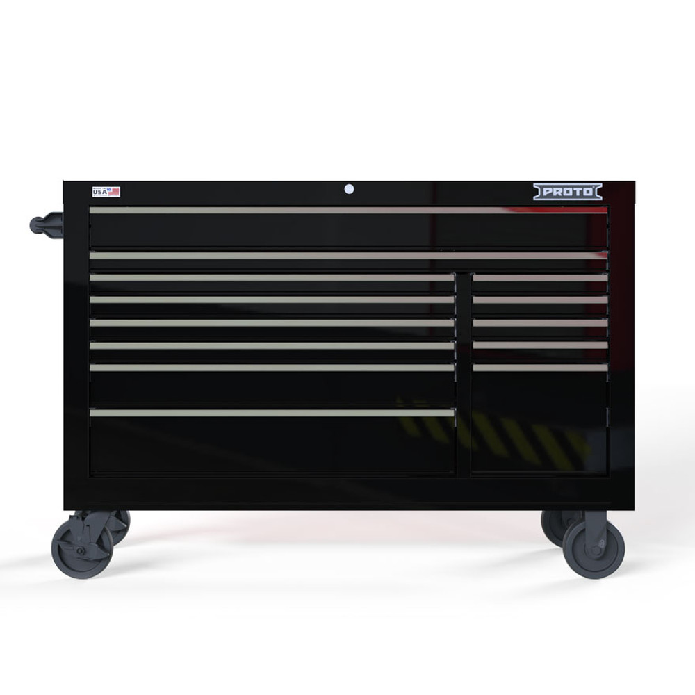 """Proto Velocity 55"""" 13-Drawer Double Bank Roller Cabinet - Black"""