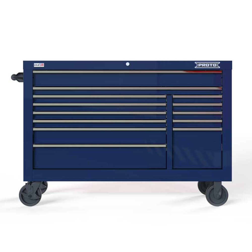 """Proto Velocity 55"""" 13-Drawer Double Bank Roller Cabinet - Blue"""