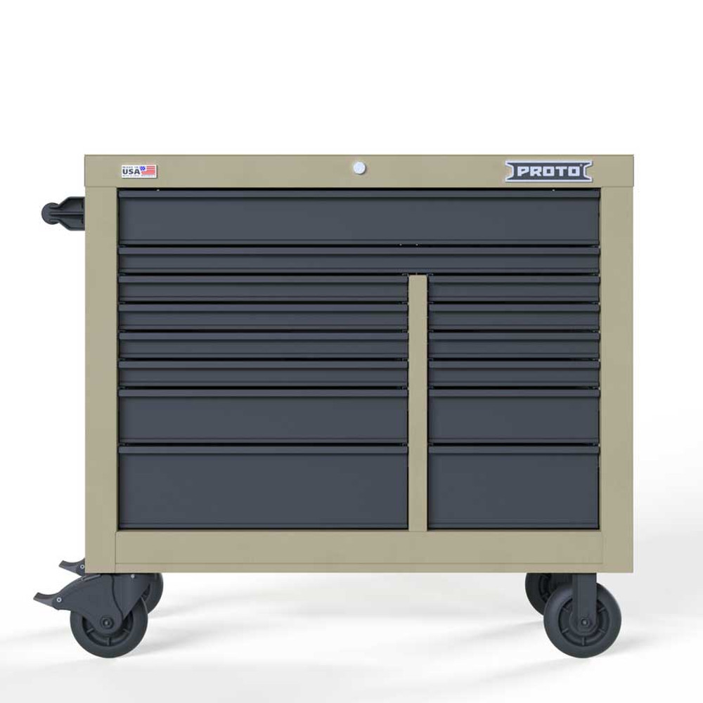 "Proto Velocity 42"" 14-Drawer Double Bank Roller Cabinet - Desert Tan"