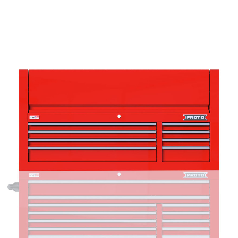 """Proto Velocity 55"""" 8-Drawer Double Bank Top Chest - Red"""