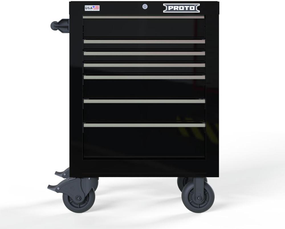 "Proto Velocity 27"" 7-Drawer Single Bank Roller Cabinet - Black"