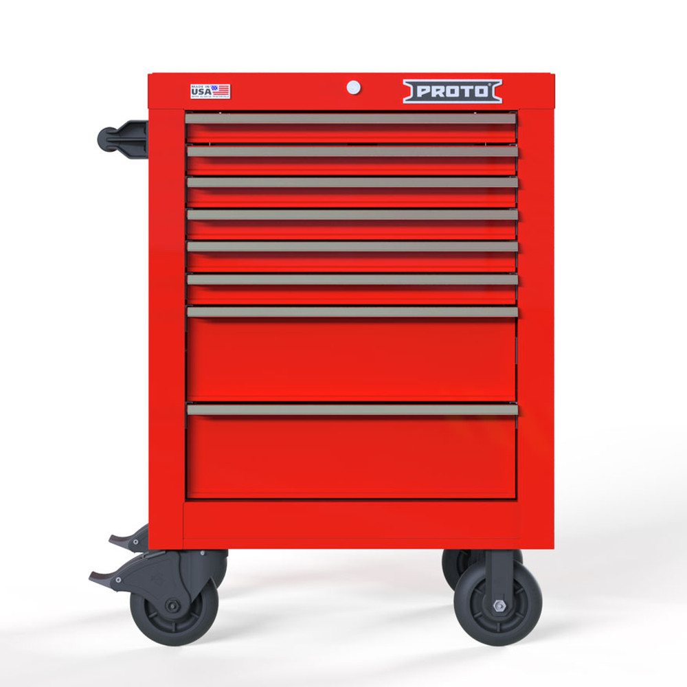 """Proto Velocity 27"""" 8-Drawer Single Bank Roller Cabinet - Red"""