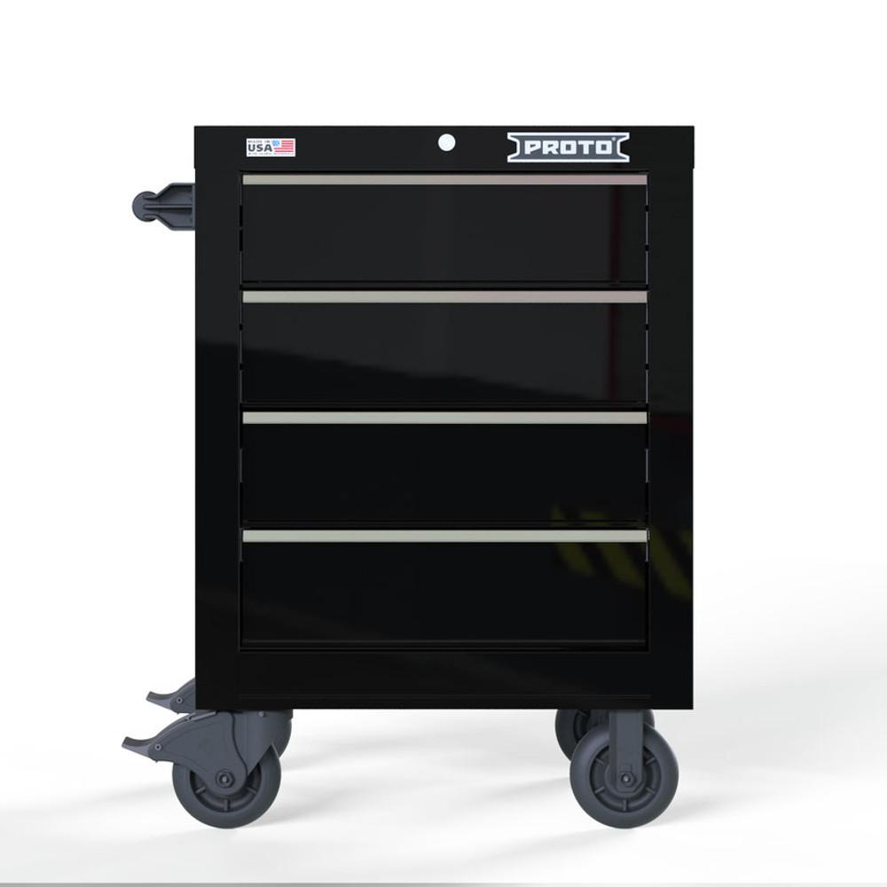 "Proto Velocity 27"" 4-Drawer Single Bank Roller Cabinet - Black"
