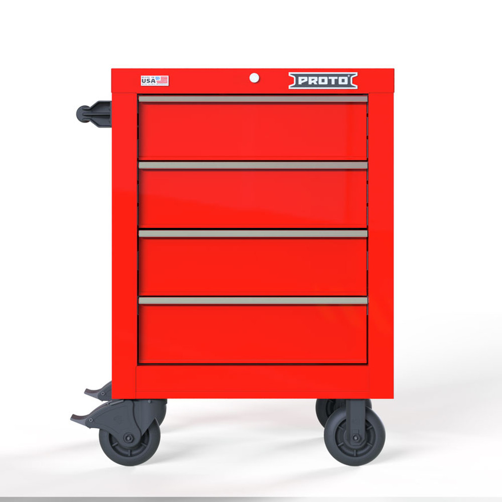 """Proto Velocity 27"""" 4-Drawer Single Bank Roller Cabinet - Red"""