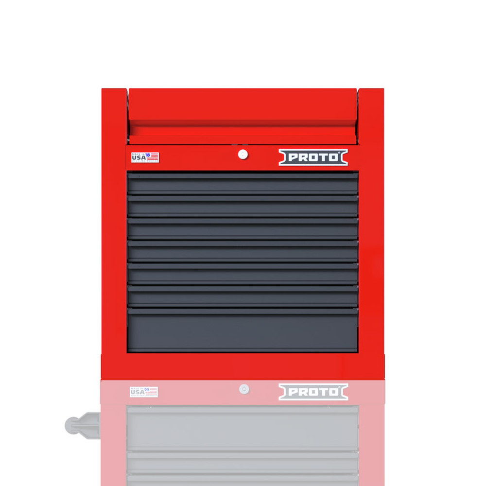 """Proto Velocity 27"""" 7-Drawer Single Bank Top Chest - Red/Gray"""