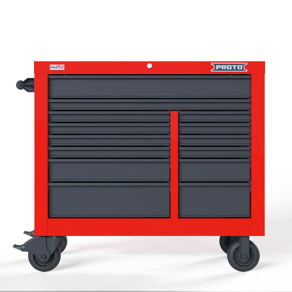 "Proto Velocity 42"" 14-Drawer Double Bank Roller Cabinet - Red/Gray"
