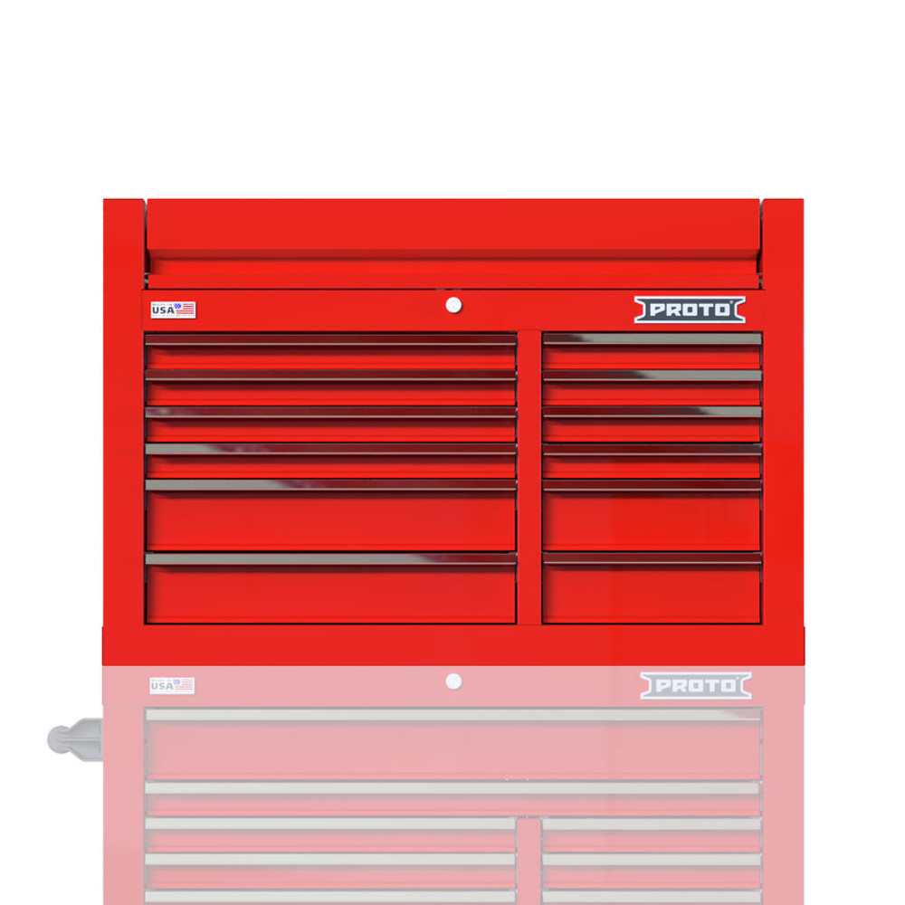 """Proto Velocity 42"""" 12-Drawer Double Bank Top Chest - Red"""