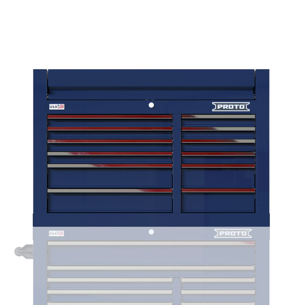 """Proto Velocity 42"""" 12-Drawer Double Bank Top Chest - Blue"""