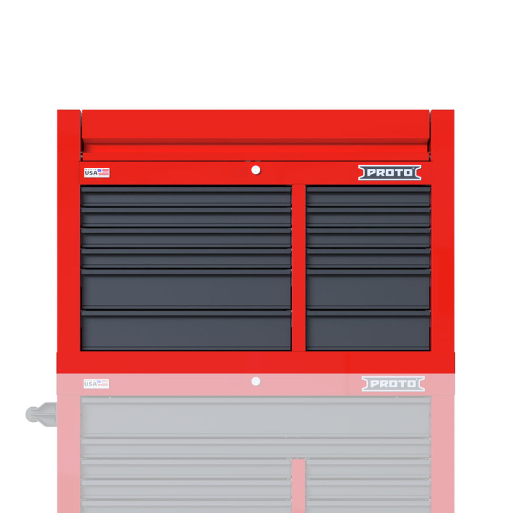 """Proto Velocity 42"""" 12-Drawer Double Bank Top Chest - Red/Gray"""