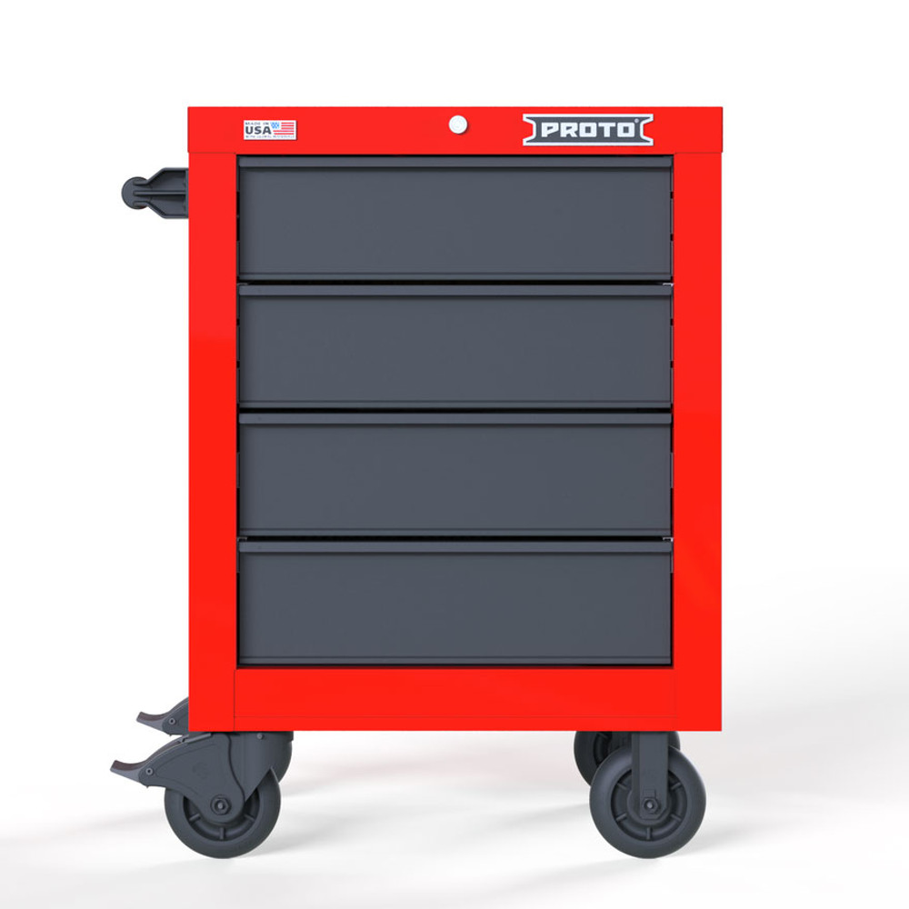 """Proto Velocity 27"""" 4-Drawer Single Bank Roller Cabinet - Red/Gray"""