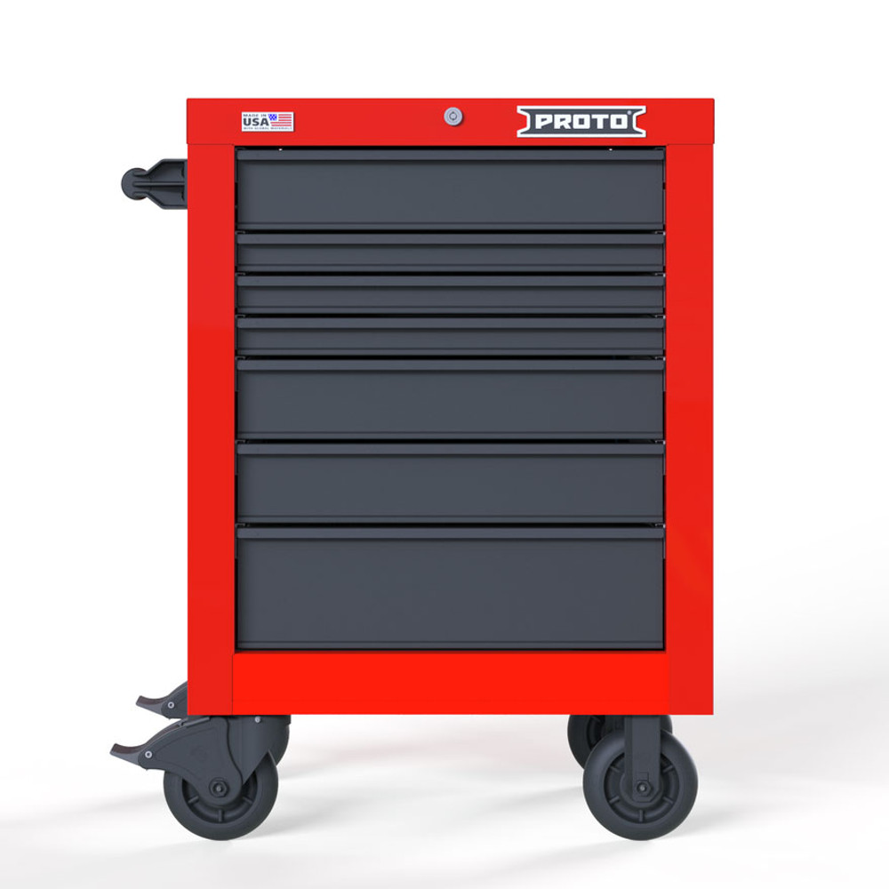 """Proto Velocity 27"""" 7-Drawer Single Bank Roller Cabinet - Red/Gray"""