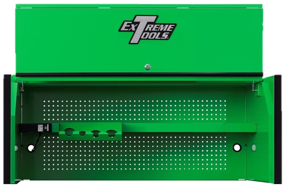 """Extreme Tools RX Series 55"""" x 25"""" Deep Professional Hutch - Green w/Black Handle and Trim"""