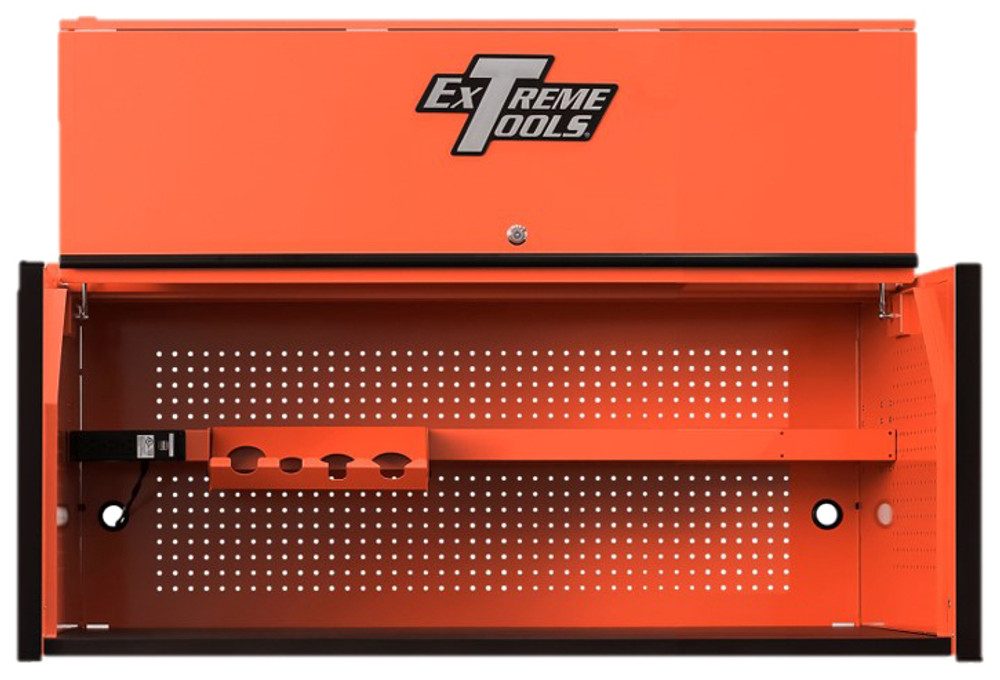 "Extreme Tools RX Series 55"" x 25"" Deep Professional Hutch - Orange w/Black Handle and Trim"