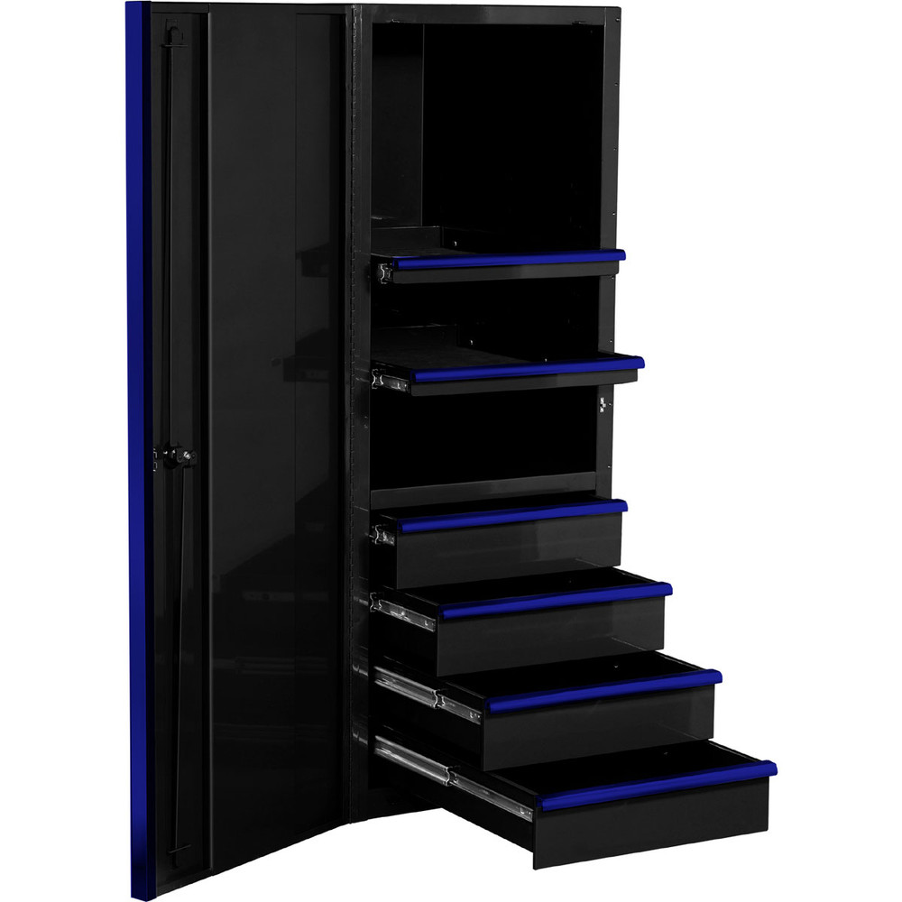 """Extreme Tools EXQ Series 24""""W x 30""""D 4-Drawer/2 Shelf Professional Side Cabinet- Black w/Blue Handles"""