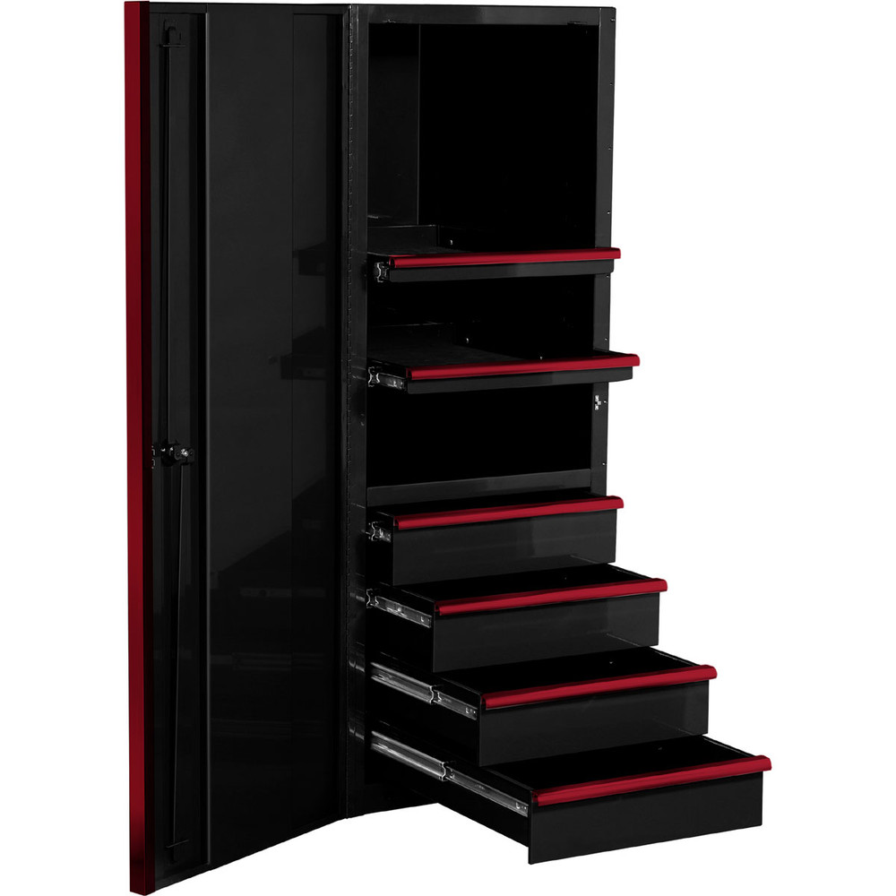 """Extreme Tools EXQ Series 24""""W x 30""""D 4-Drawer/2 Shelf Professional Side Cabinet- Black w/Red Handles"""