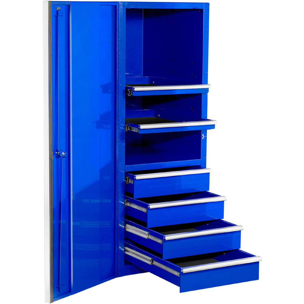 """Extreme Tools EXQ Series 24""""W x 30""""D 4-Drawer/2 Shelf Professional Side Cabinet- Blue w/Chrome Handles"""