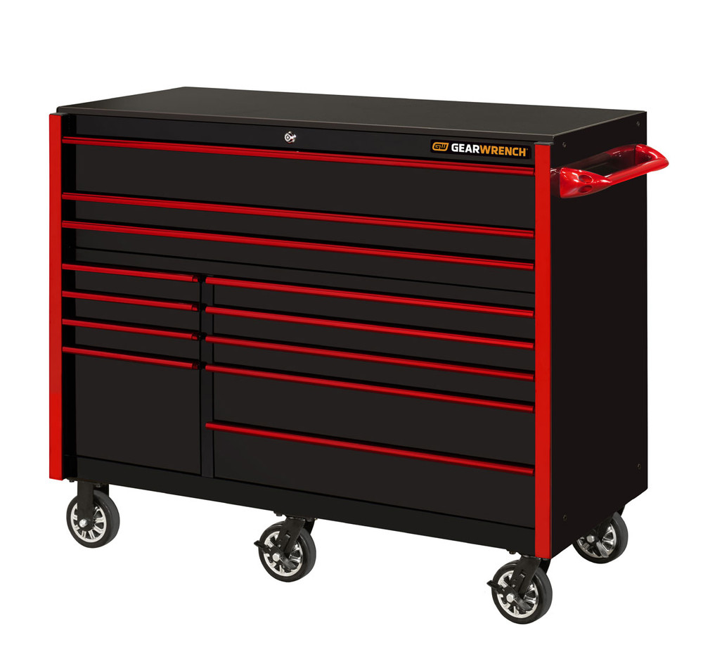 """GearWrench 55"""" 12-Drawer 25"""" Deep Roller Cabinet - Black with Red Handles"""