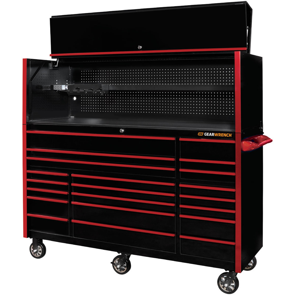 "GearWrench 72"" 21-Drawer 25"" Deep Roller Cabinet and Hutch - Black with Red Handles"