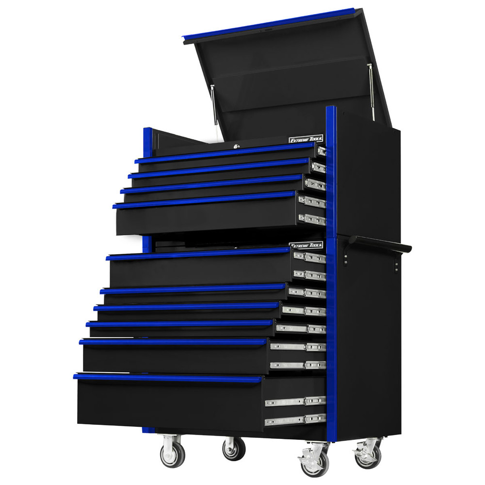 """Extreme Tools 41"""" DX Series 4-Drawer Top Chest and 6-Drawer 25"""" Deep Roller Combo - Black w/Blue drawer pulls"""