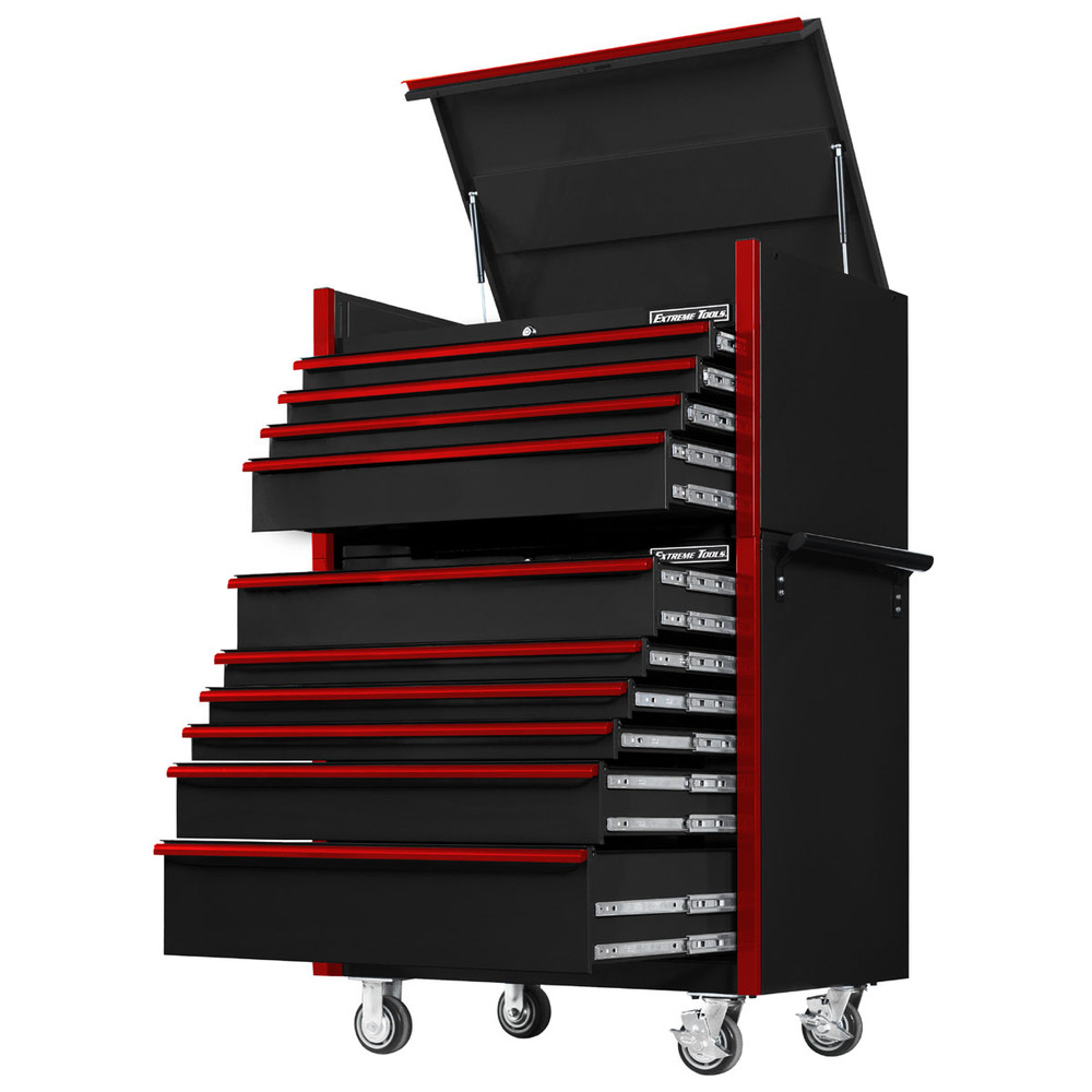 "Extreme Tools 41"" DX Series 4-Drawer Top Chest and 6-Drawer 25"" Deep Roller Combo - Black w/Red drawer pulls"