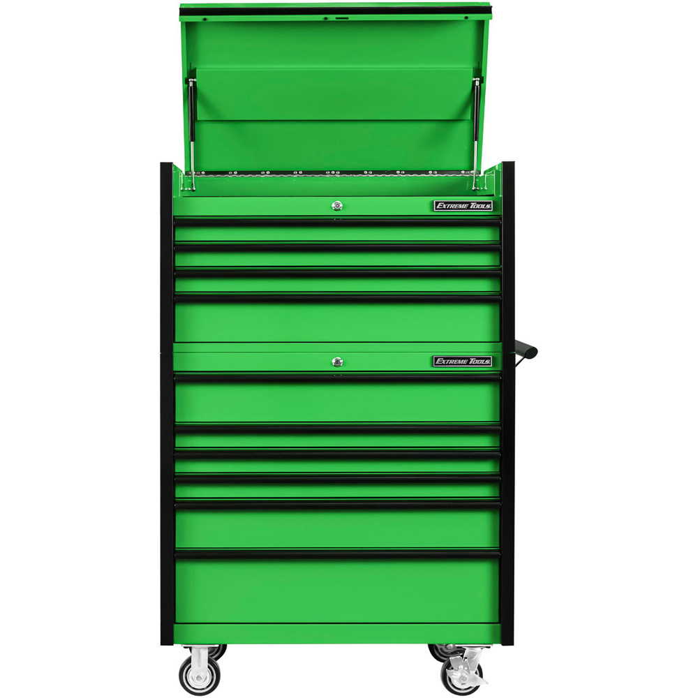 """Extreme Tools 41"""" DX Series 4-Drawer Top Chest and 6-Drawer 25"""" Deep Roller Combo - Green w/Black drawer pulls"""