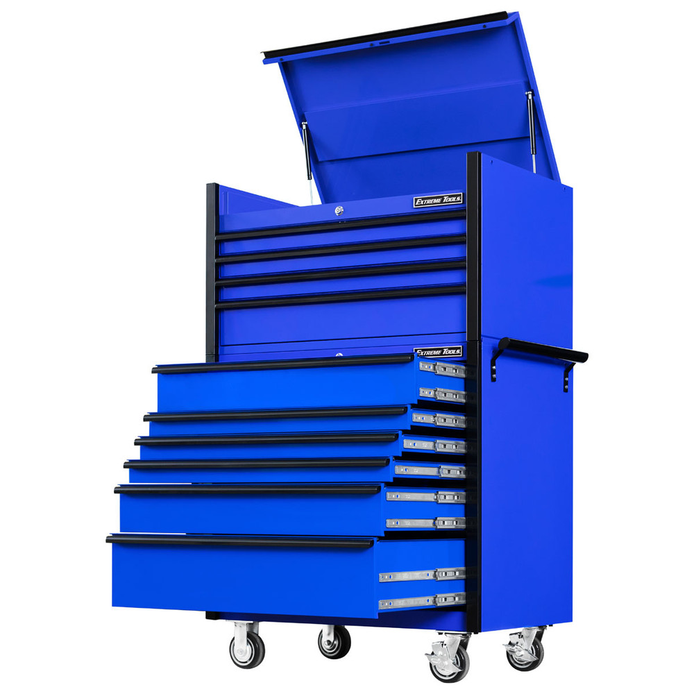 """Extreme Tools 41"""" DX Series 4-Drawer Top Chest and 6-Drawer 25"""" Deep Roller Combo - Blue w/Black drawer pulls"""