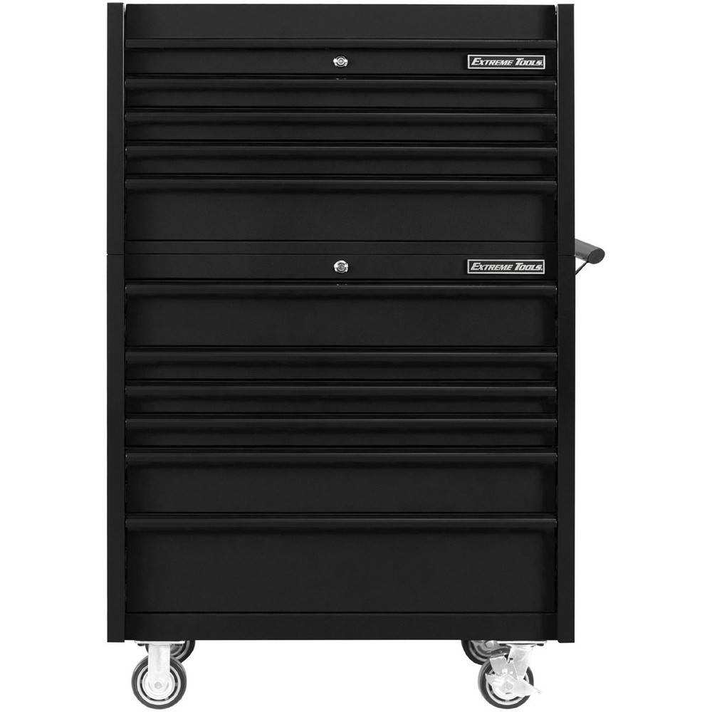 """Extreme Tools 41"""" DX Series 4-Drawer Top Chest and 6-Drawer 25"""" Deep Roller Combo - Matte Black w/Black drawer pulls"""