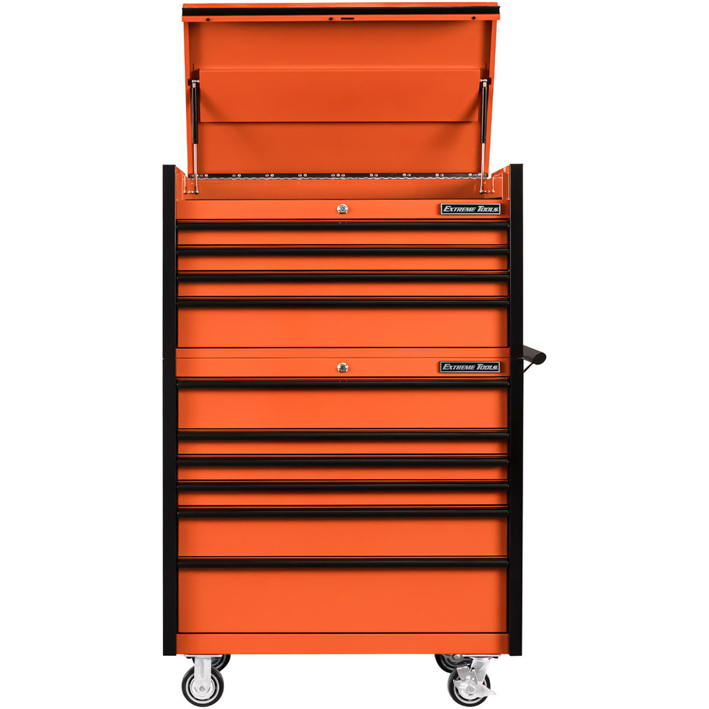 "Extreme Tools 41"" DX Series 4-Drawer Top Chest and 6-Drawer 25"" Deep Roller Combo - Orange w/Black drawer pulls"