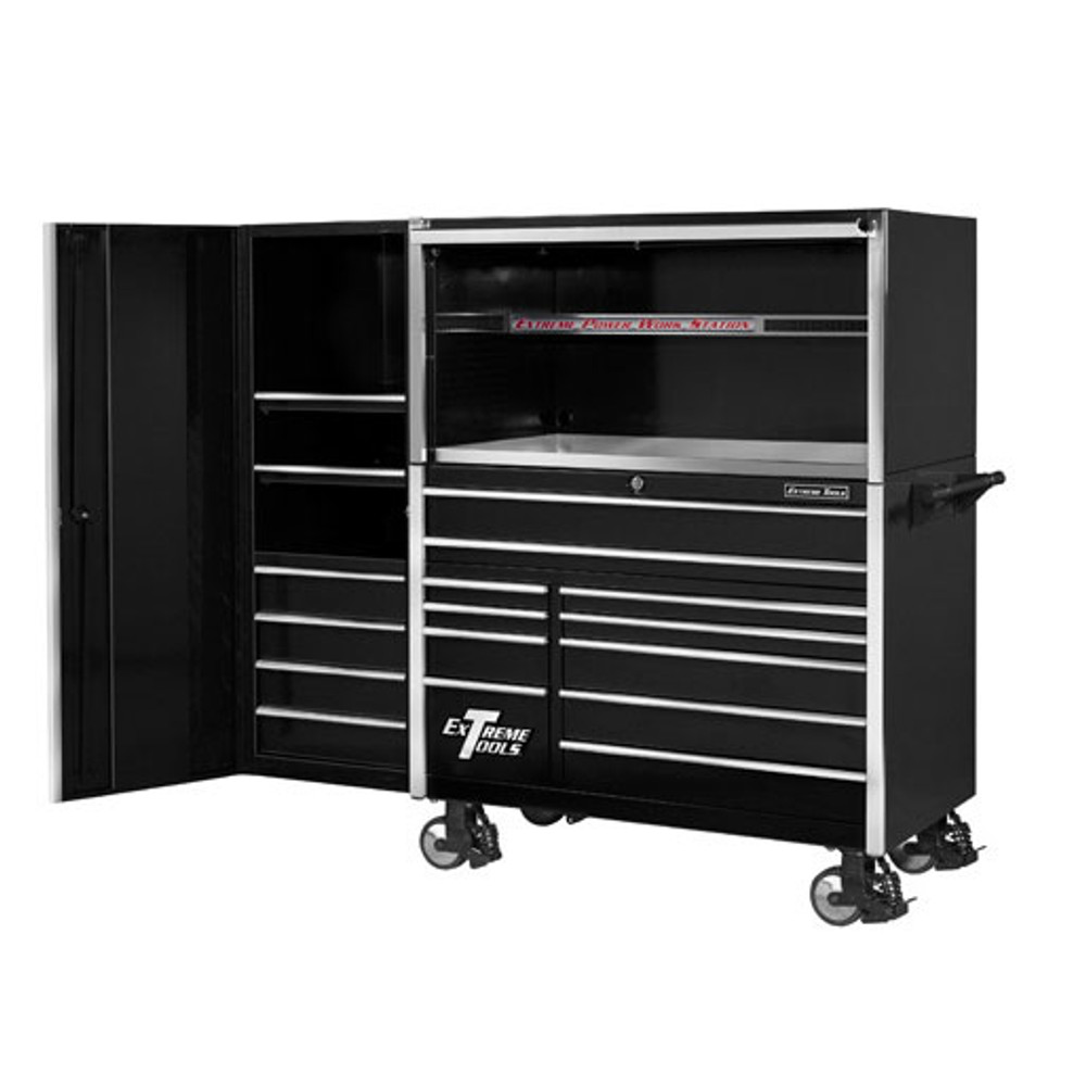 """Extreme Tools 55"""" 11-Drawer Professional Roller Cabinet with Hutch and Side Cabinet"""