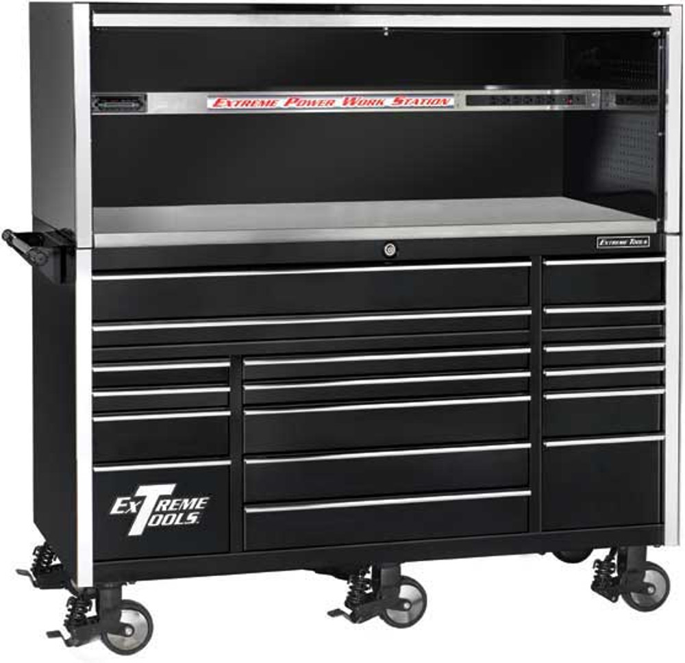 "Extreme Tools 72"" 17-Drawer Professional Roller Cabinet with Hutch"