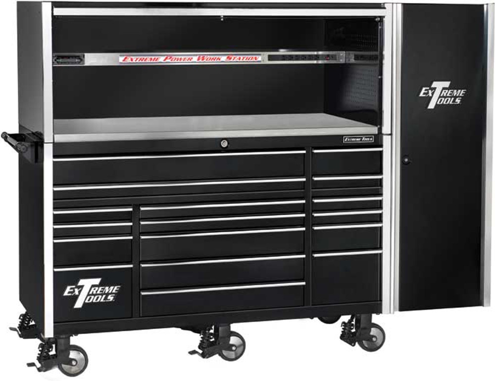 """Extreme Tools 72"""" 17-Drawer Professional Roller Cabinet with Hutch and Side Cabinet - Black"""
