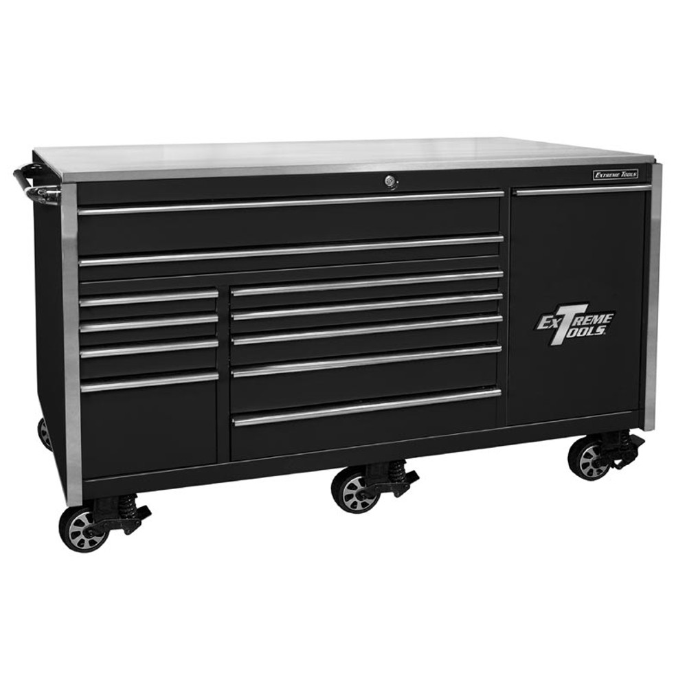 """Extreme Tools 76"""" 12-Drawer Professional Roller Cabinet w/ Stainless Steel Top - Black"""