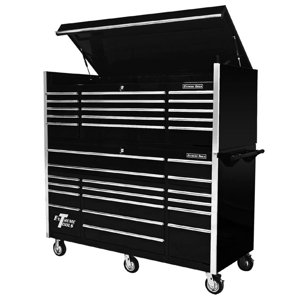 """Extreme Tools 72"""" 17-Drawer Professional Roller Cabinet with Top Chest - Black"""