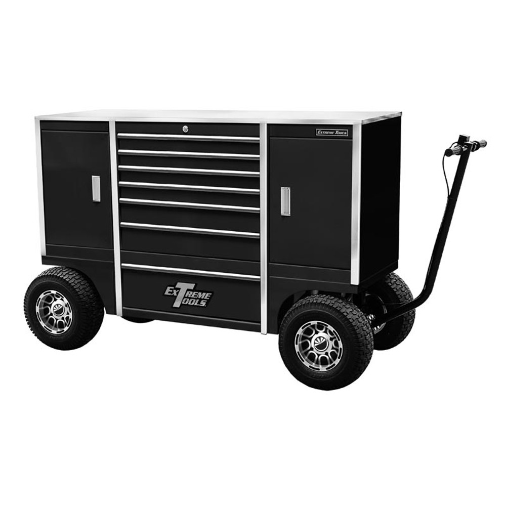 """Extreme Tools 70"""" Pit Box  with 7 Drawers & 2 Side Compartments - Black"""