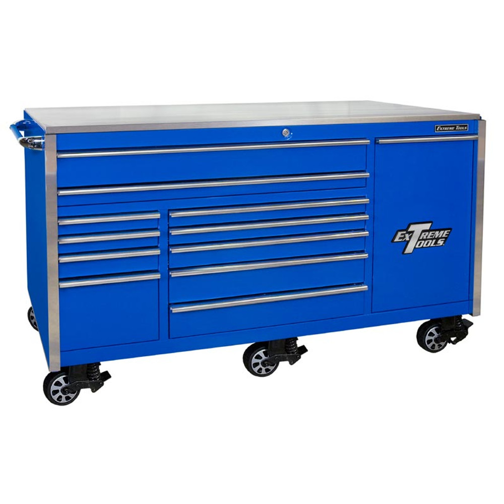 "Extreme Tools 76"" 12-Drawer Professional Roller Cabinet w/ Stainless Steel Top - Blue"