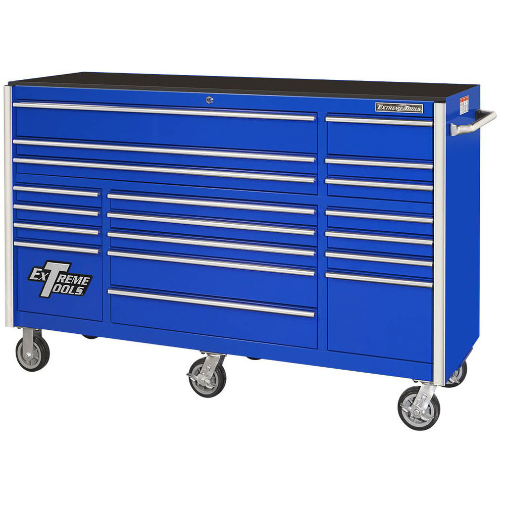 """Extreme Tools 72"""" RX Series 19-Drawer 25"""" Deep Roller Cabinet - Blue"""
